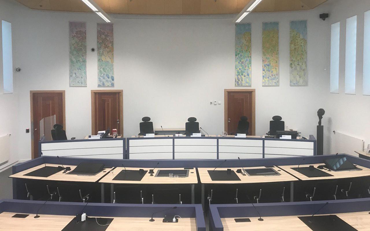 Zittingszaal 14 in de rechtbank van Groningen.