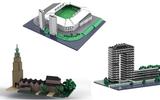 Jan maakt LEGO-ontwerpen van Martinitoren, Euroborg en Tasmantoren in Groningen. Je hebt slechts een paar stenen nodig om ze na te bouwen