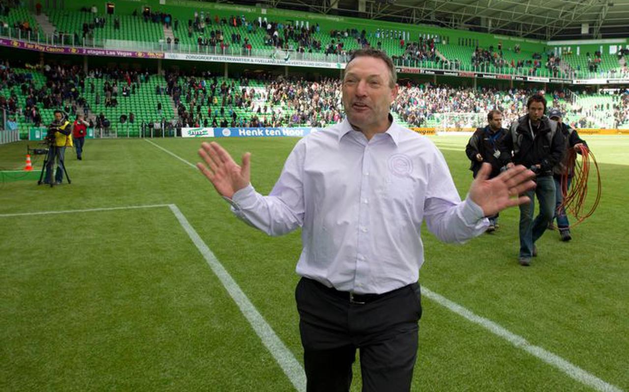 Ron Jans bij zijn afscheid als coach van FC Groningen in 2010.