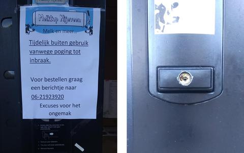 Inbraakpoging bij zuivelautomaat van Melktap Nijeveen: 'Er zat maar hooguit 2 euro in'