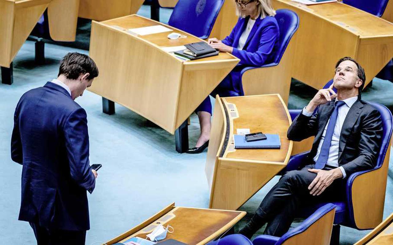 Hoekstra (CDA), Kaag (D66) en Rutte (VVD) tijdens het debat over het eindverslag van Mariëtte Hamer.
