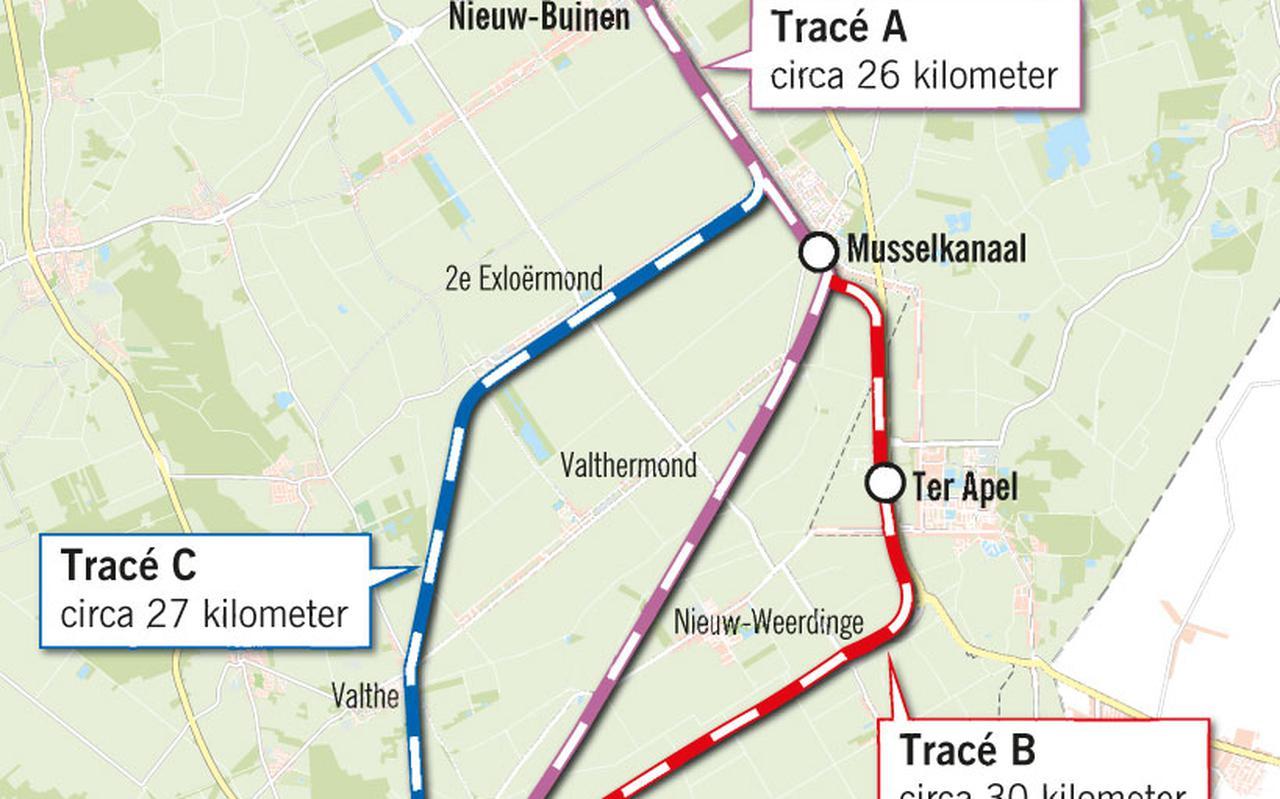 De drie varianten voor de nieuwe verbinding Emmen-Stadskanaal.