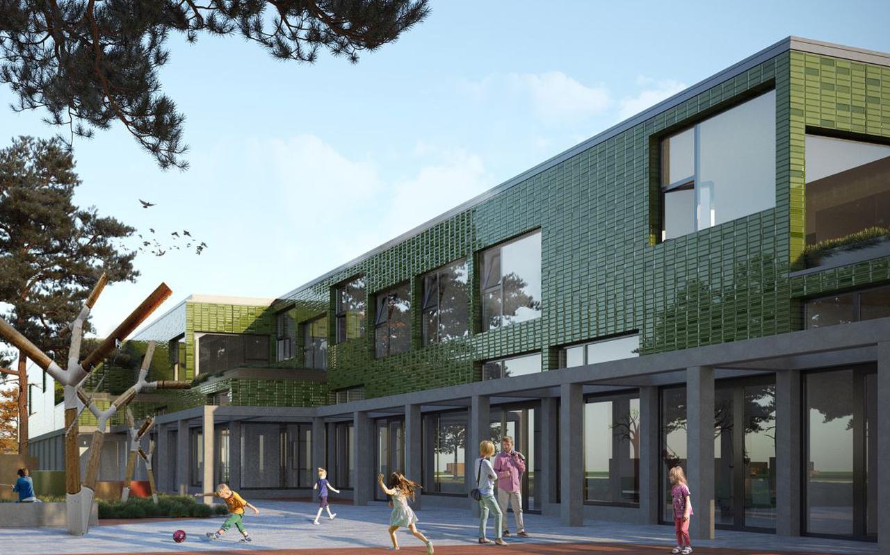 Artist's impression van het kindcentrum in Woldwijck in Hoogezand.