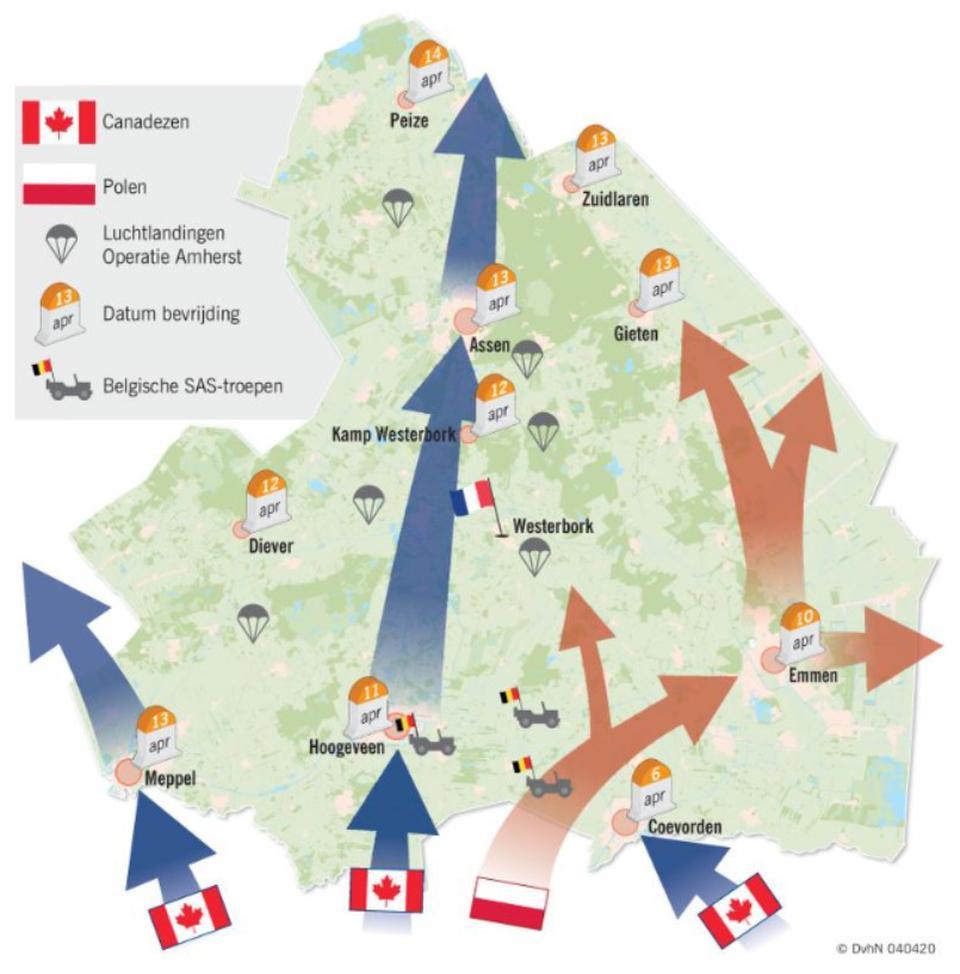 Een kaart waarop de geallieerde opmars in Drenthe globaal wordt weergegeven.