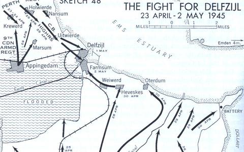 Overzichtskaart van opmars Canadese troepen in Noord-Groningen.