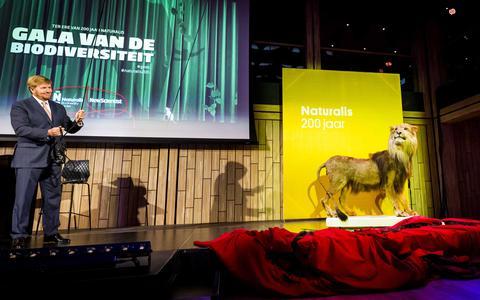 Koning Willem-Alexander tijdens het Gala van de Biodiversiteit ter gelegenheid van het 200 jarig bestaan van Naturalis. Bij de transitie naar een duurzame samenleving is leiderschap vereist.