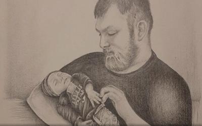 Ronald Mekkring, trotse oom, kreeg zijn derde neefje nooit te zien. In deze tekening, die zus Samantha liet maken, gaat het anders.