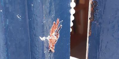 De inbrekers zijn binnengekomen door een raam op de eerste verdieping ter forceren. Foto: Politie Zuidoost-Drenthe