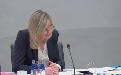 Demissionair minister Kajsa Ollongren (Binnenlandse Zaken, D66) tijdens het debat.