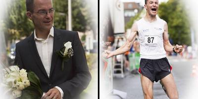 Kasper Wulff op zijn trouwdag en bij de finish van een hardloopevenement. Foto's Mario Hofstee