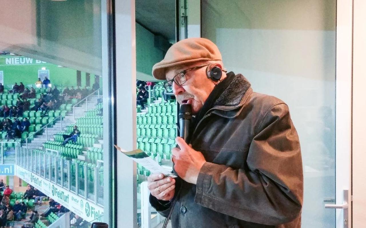 Stadionspeaker Jan Wildeman van FC Groningen.