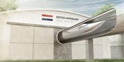 Beeld van hoe de nieuwe testfaciliteit van de Hyperloop er uit moet zien.