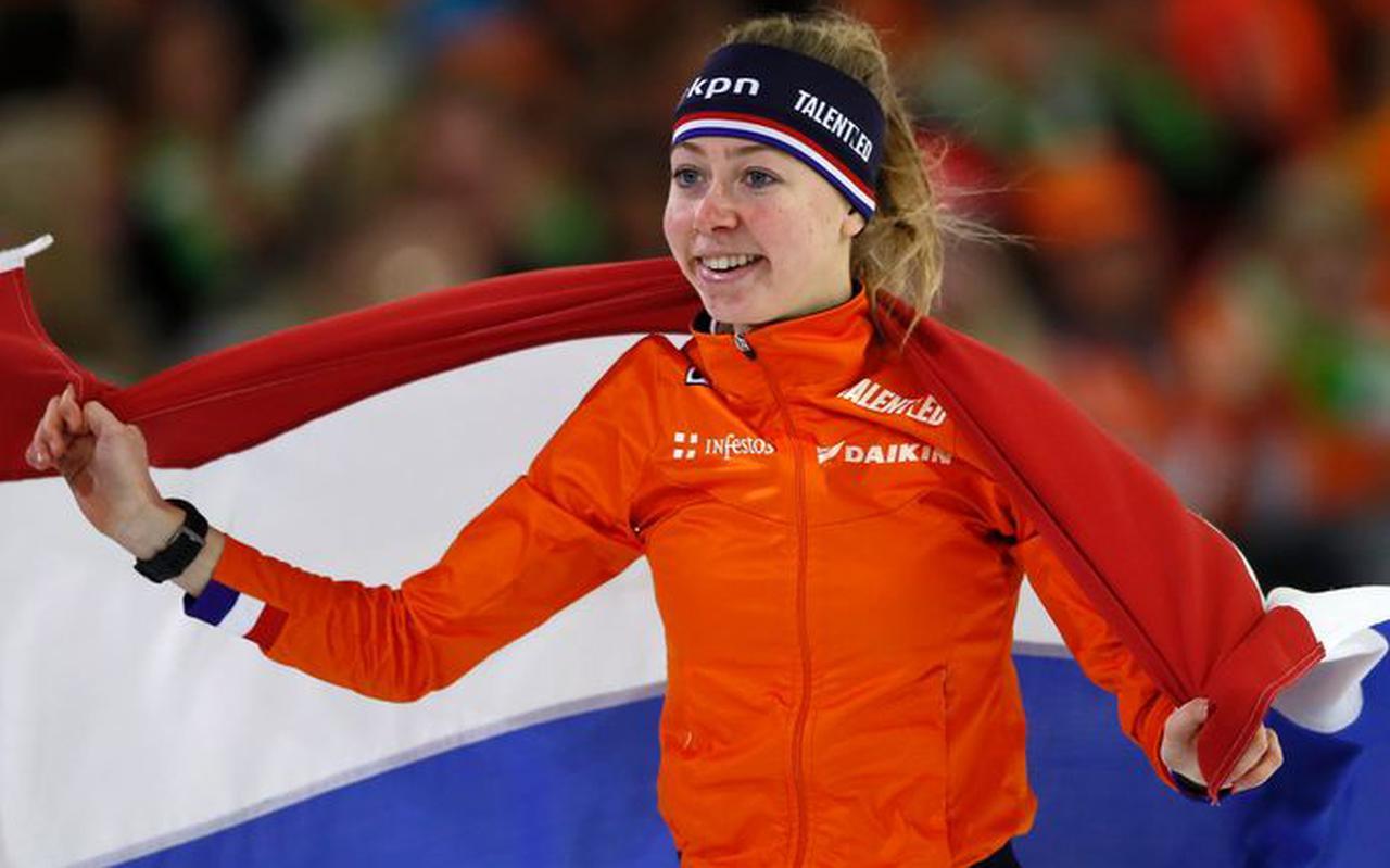 Esmee Visser na het winnen van de 3 kilometer in Thialf in januari van dit jaar.