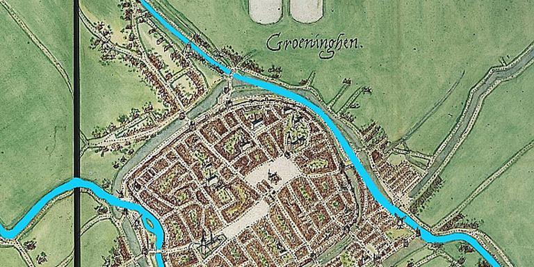 Oude kaart van Groningen. FOTO GRONINGER ARCHIEVEN