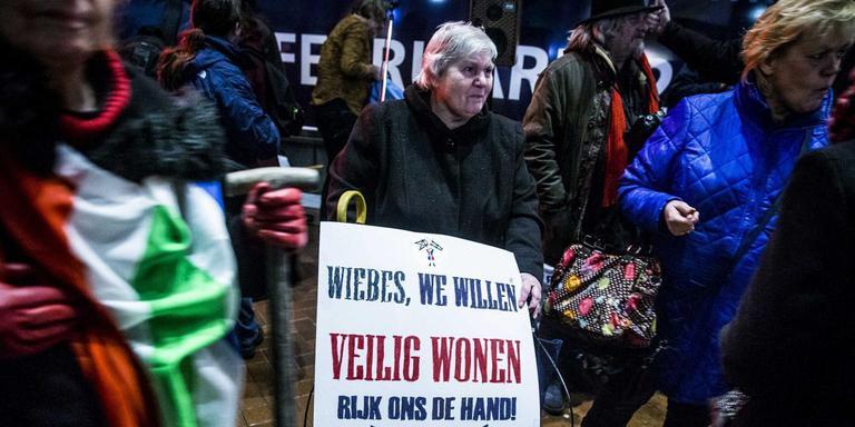 Protest bij het bezoek van minister Wiebes aan Groningen. Foto ANP