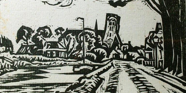 Houtsnede van Jan Altink uit de bundel 'Vonken van 't verleden' (1937) met volksverhalen geschreven door Jan Boer.