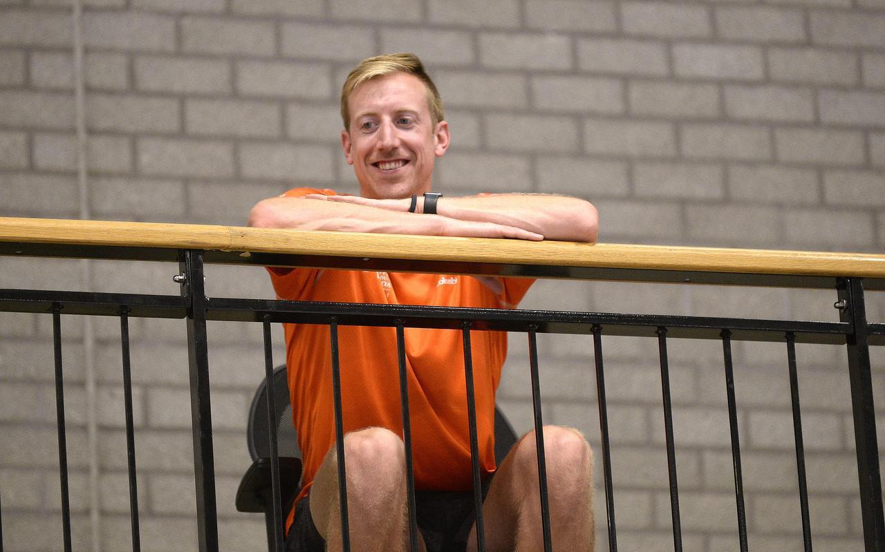 Chris Voth op de tribune bij de eerste training van Lycurgus: ,,Het is mijn droom om hier terug te komen en weer in Groningen te leven.''