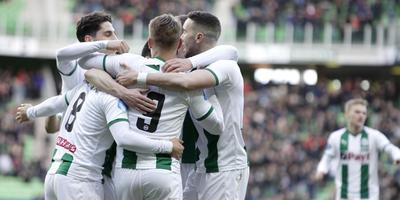 FC Groningen viert de 1-0 tegen ADO Den Haag. Foto VI Images