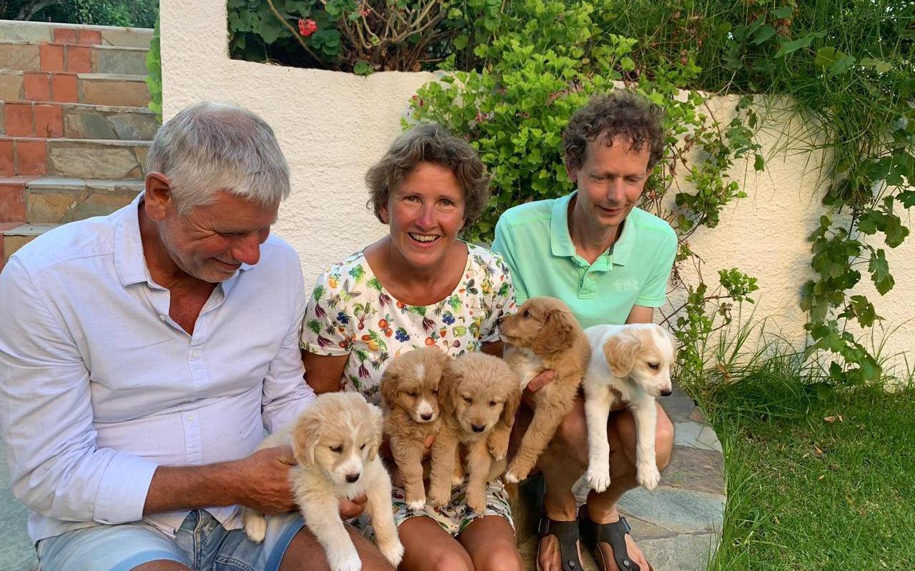 Gerard Smit, assistent-coach van Lycurgus, zijn vrouw Joke en een buurman (vlnr) op Kreta met de vijf geredde hondjes