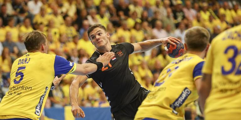 Kay Smits wist tegen de Zweden wel veelvuldig te scoren. Foto EPA/Andreas Hillergren