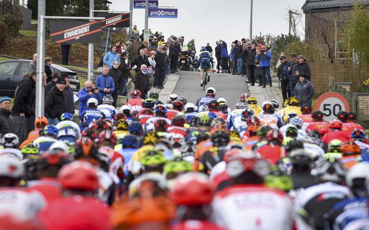 Het peloton tijdens de 71ste editie van Dwars Door Vlaanderen. FOTO AFP/TIM DE WAELE