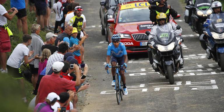 Quintana op weg naar zijn ritzege. Foto: EPA