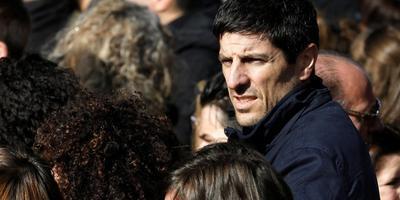 Sébastien Bellin bij een herdenkingsbijeenkomst een jaar na de terroristische aanslag op vliegveld Zaventem. Foto REUTERS/Yves Herman