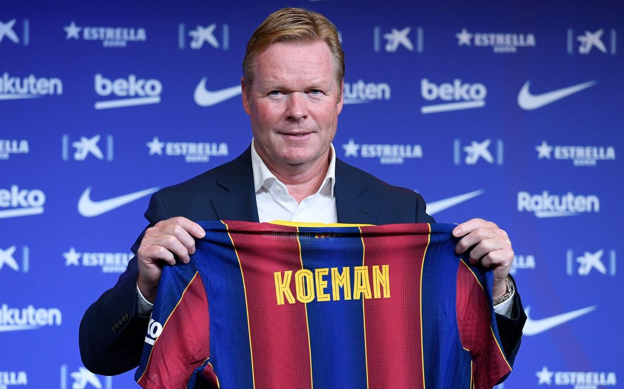 Ronald Koeman tijdens zijn presentatie als nieuwe trainer van Barcelona. ,,Wie zegt mij dat er volgend jaar juni wel een EK is? Het is de derde keer dat ik deze kans krijg.''