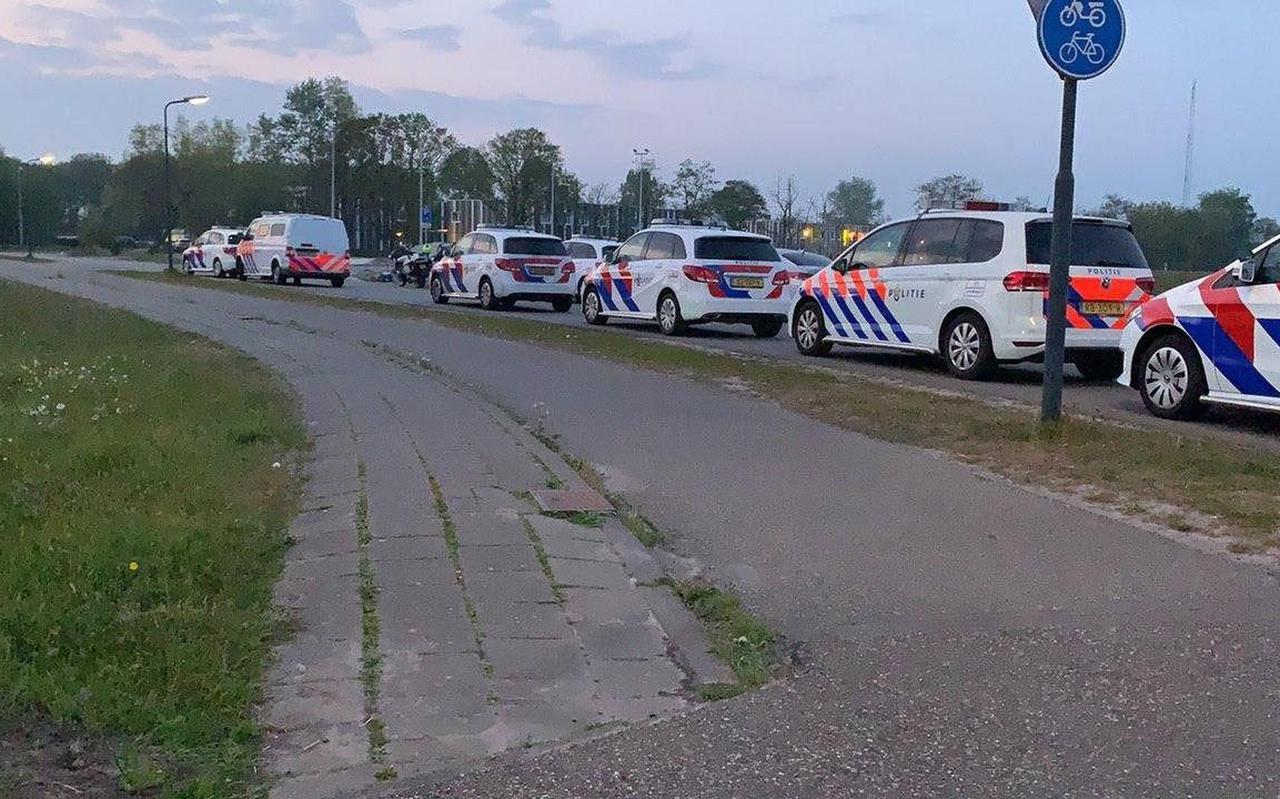 Grootschalige politie-inzet bij de ruzie op het azc in Drachten, in april dit jaar.