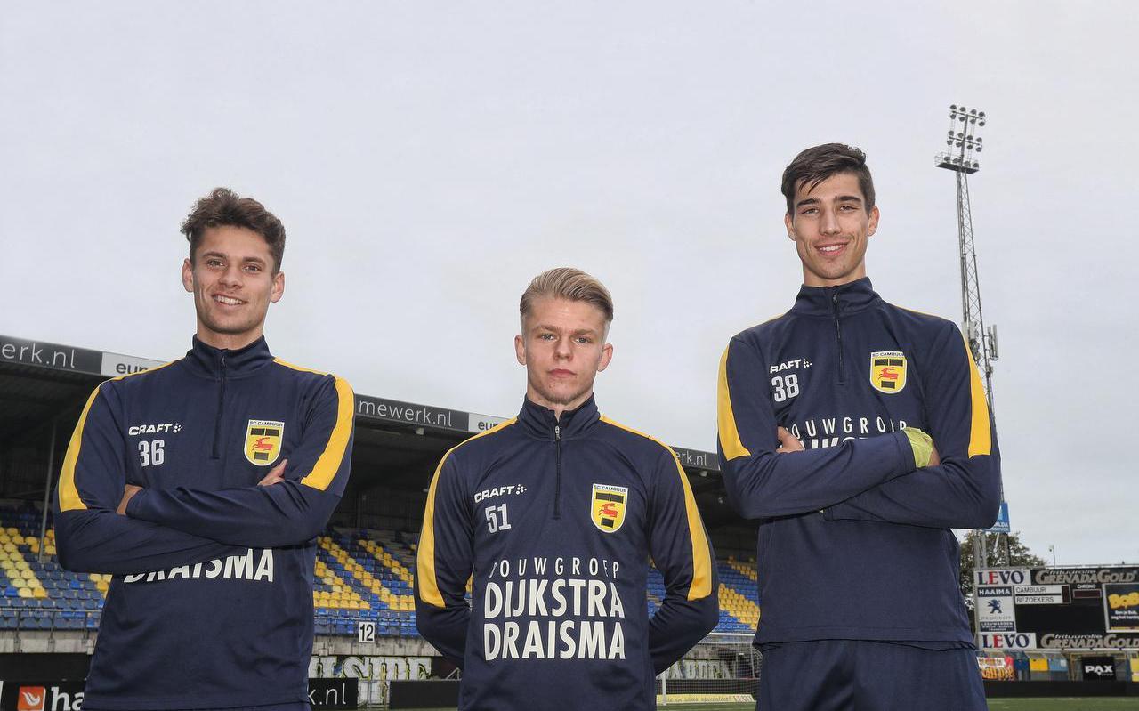 De beloften van Cambuur (vlnr): Mees Gootjes , Dylan Smit en Stefan Deuling.