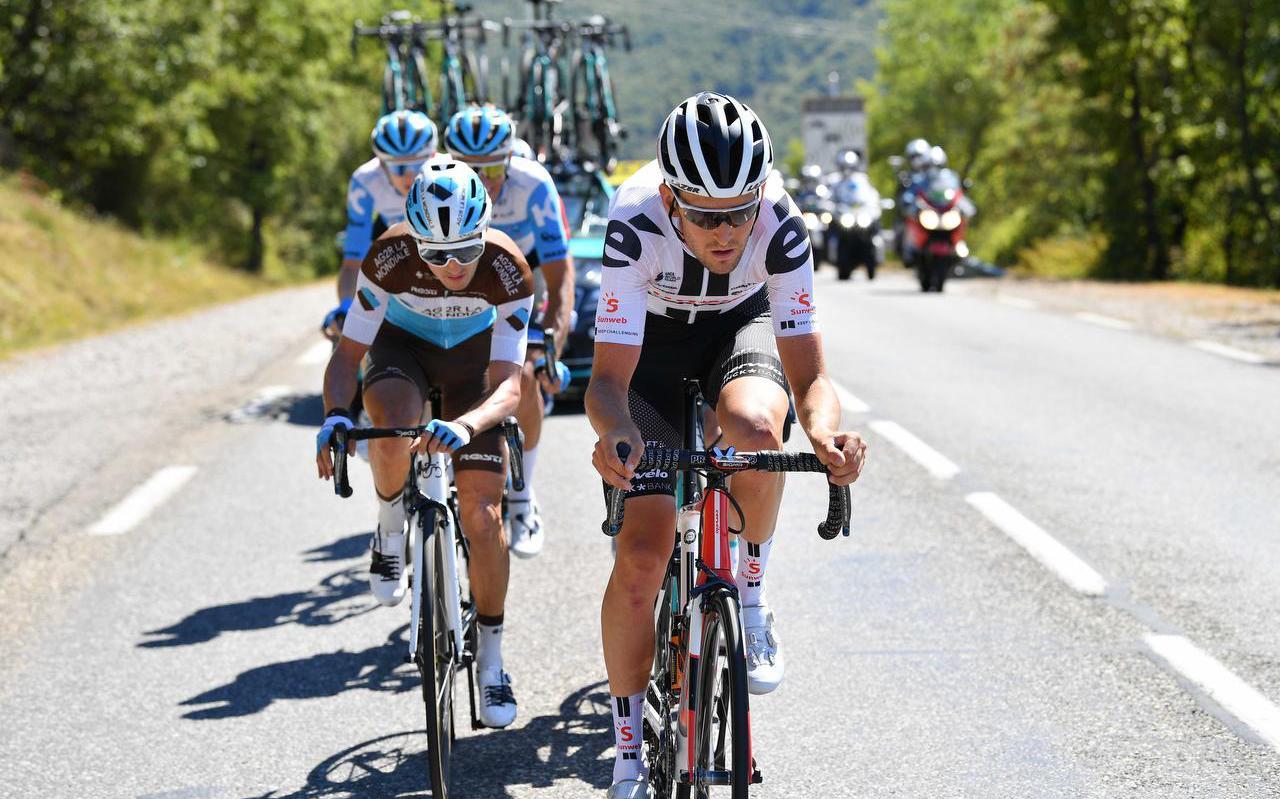 Tiesj Benoot tijdens de vierde etappe van de Tour de France.